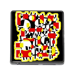 Red and yellow chaos Memory Card Reader (Square)