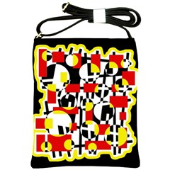 Red and yellow chaos Shoulder Sling Bags