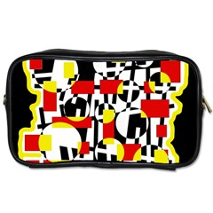 Red and yellow chaos Toiletries Bags