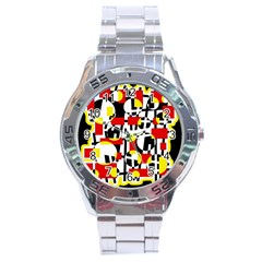 Red and yellow chaos Stainless Steel Analogue Watch