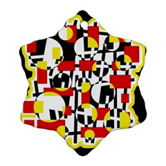 Red and yellow chaos Snowflake Ornament (2-Side)
