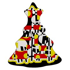 Red and yellow chaos Christmas Tree Ornament (2 Sides)