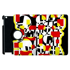 Red and yellow chaos Apple iPad 3/4 Flip 360 Case