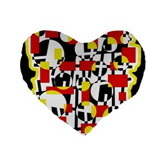 Red and yellow chaos Standard 16  Premium Heart Shape Cushions