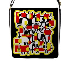 Red and yellow chaos Flap Messenger Bag (L)