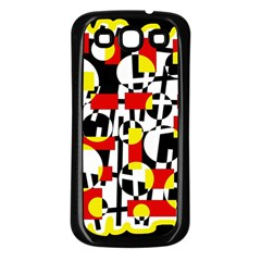 Red and yellow chaos Samsung Galaxy S3 Back Case (Black)