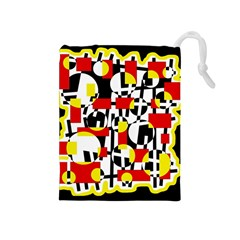 Red and yellow chaos Drawstring Pouches (Medium)
