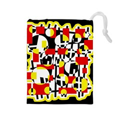 Red and yellow chaos Drawstring Pouches (Large)
