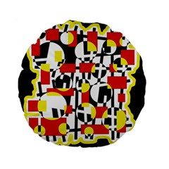 Red and yellow chaos Standard 15  Premium Flano Round Cushions