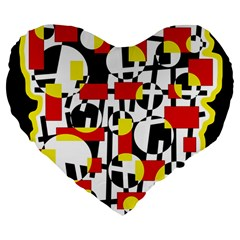 Red and yellow chaos Large 19  Premium Flano Heart Shape Cushions