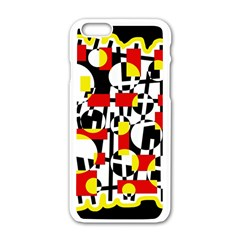 Red and yellow chaos Apple iPhone 6/6S White Enamel Case