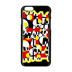Red and yellow chaos Apple iPhone 6/6S Black Enamel Case