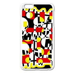 Red and yellow chaos Apple iPhone 6 Plus/6S Plus Enamel White Case