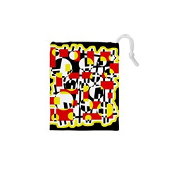Red and yellow chaos Drawstring Pouches (XS)