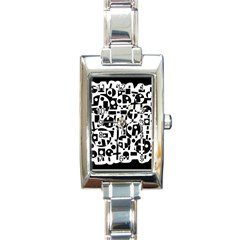 Black and white abstract chaos Rectangle Italian Charm Watch