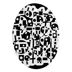Black and white abstract chaos Ornament (Oval)