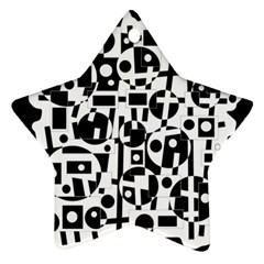 Black and white abstract chaos Ornament (Star)