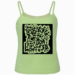 Black and white abstract chaos Green Spaghetti Tank