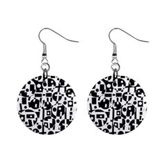 Black and white abstract chaos Mini Button Earrings