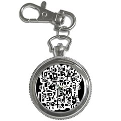 Black and white abstract chaos Key Chain Watches