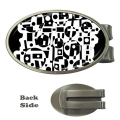 Black and white abstract chaos Money Clips (Oval)