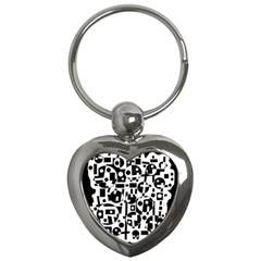 Black and white abstract chaos Key Chains (Heart)