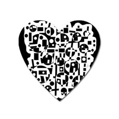 Black and white abstract chaos Heart Magnet