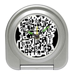 Black and white abstract chaos Travel Alarm Clocks