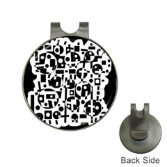 Black and white abstract chaos Hat Clips with Golf Markers