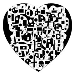 Black and white abstract chaos Jigsaw Puzzle (Heart)
