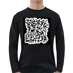 Black and white abstract chaos Long Sleeve Dark T-Shirts