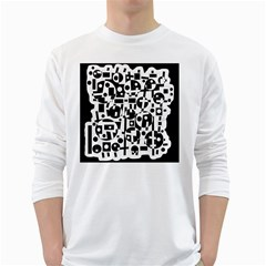 Black and white abstract chaos White Long Sleeve T-Shirts