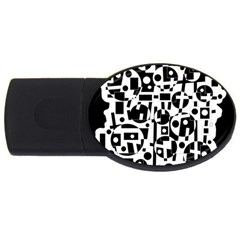 Black and white abstract chaos USB Flash Drive Oval (4 GB)