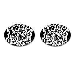 Black and white abstract chaos Cufflinks (Oval)