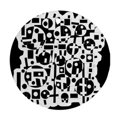 Black and white abstract chaos Round Ornament (Two Sides)