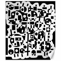 Black and white abstract chaos Canvas 20  x 24