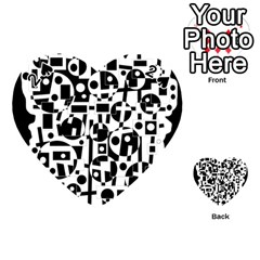 Black and white abstract chaos Playing Cards 54 (Heart)