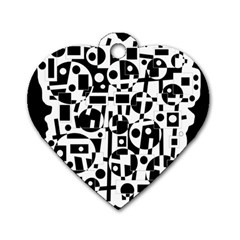 Black and white abstract chaos Dog Tag Heart (One Side)