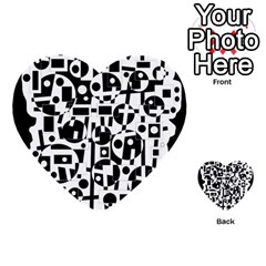 Black and white abstract chaos Multi-purpose Cards (Heart)