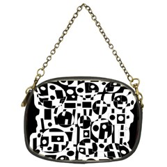 Black and white abstract chaos Chain Purses (One Side)
