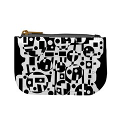 Black and white abstract chaos Mini Coin Purses