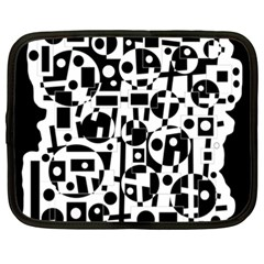 Black and white abstract chaos Netbook Case (XXL)