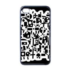 Black and white abstract chaos Apple iPhone 4 Case (Black)