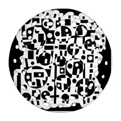 Black and white abstract chaos Ornament (Round Filigree)