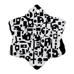 Black and white abstract chaos Ornament (Snowflake)