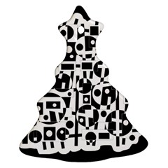 Black and white abstract chaos Christmas Tree Ornament (2 Sides)