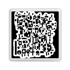 Black and white abstract chaos Memory Card Reader (Square)