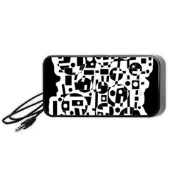 Black and white abstract chaos Portable Speaker (Black)