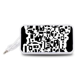Black and white abstract chaos Portable Speaker (White)