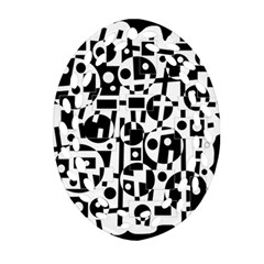 Black and white abstract chaos Oval Filigree Ornament (2-Side)